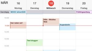 iPhone: Kalender horizontal