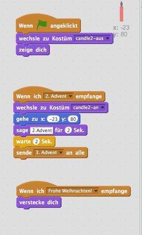 Beispiel Advent rechte Spalte, 2. Kerze Screenshot Horst Sievert