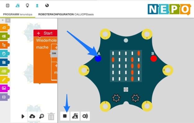 NEPO-Editor mit Simulator
