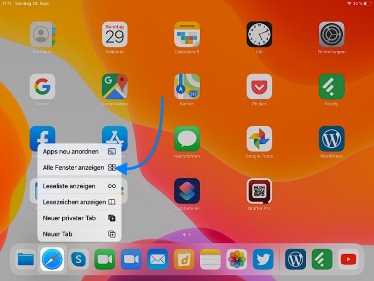 IPadOS Auswahl mehrer Fenster von einer App