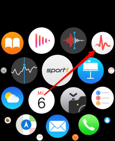 Startmenü der Apple Watch