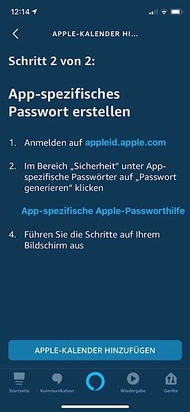 Apple-Kalender App-spezifisches Passwort