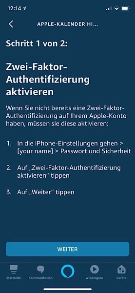 Apple-Kalender Zwei-Faktor-Authetifizierung